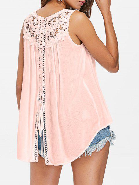 Floral Lace Panel Tank Top - PINK L