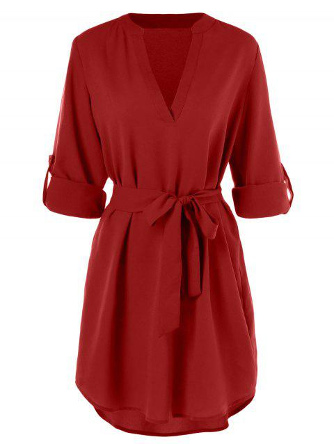 Belted Casual Dress - RED L