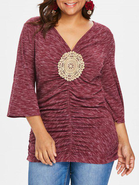 Plus Size Bell Sleeve Embellished T-shirt - RED 4X