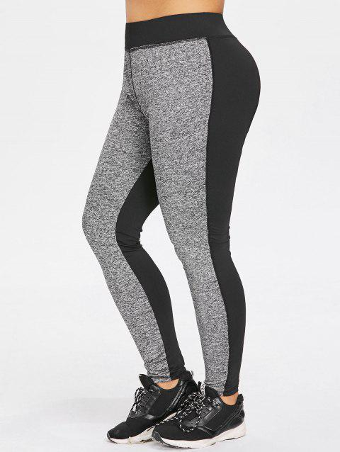 Plus Size Two Tone Sports Leggings - GRAY 5X