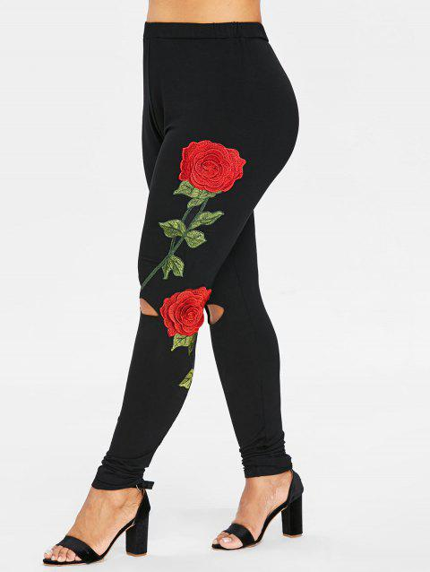 Elastic Waist Plus Size Floral Embroidery Leggings - BLACK L