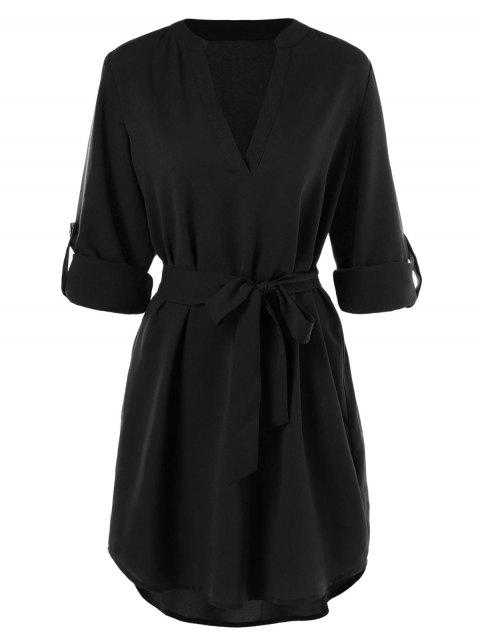 Belted Casual Dress - BLACK 2XL