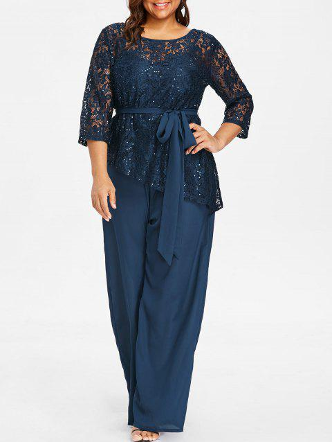 Plus Size Wide Leg Jumpsuit with Lace Blouse - DEEP BLUE 1X