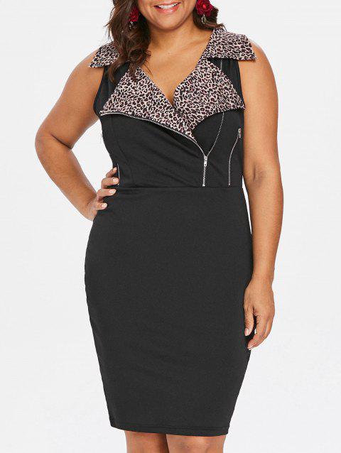 Plus Size Zippers Notched Collar Tight Dress - BLACK L
