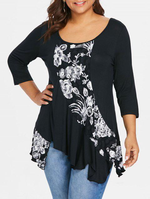 Plus Size Floral Drape Asymmetric T-shirt - BLACK 5X