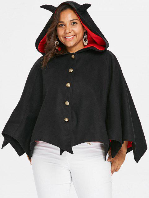 Halloween Plus Size Two Tone Batwing Coat - BLACK 2X
