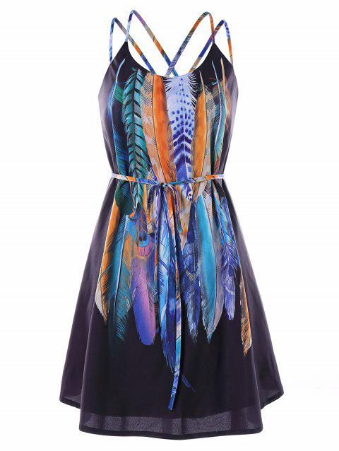 Feathers Printed Double Straps Dress - BLACK 2XL