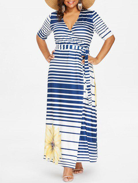 8c65d4fefb7 LIMITED OFFER  2019 Plunge Striped Plus Size Ankle Length Dress In ...