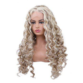 Long Free Part Colormix Curly Wavy Synthetic Lace Front Wig - multicolor