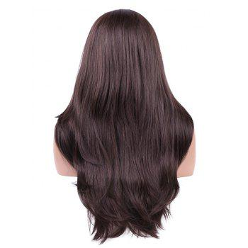 Long Side Parting Straight Lace Front Synthetic Fiber Wig - DEEP COFFEE