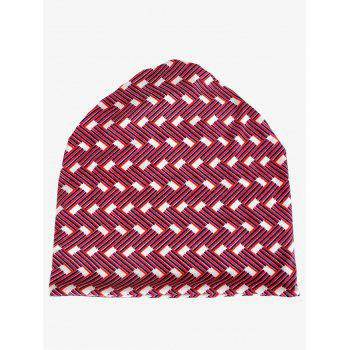 Lightweight Jacquard Pattern Beanie - LOVE RED