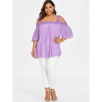 Plus Size Open Shoulder Blouse - MAUVE 3XL