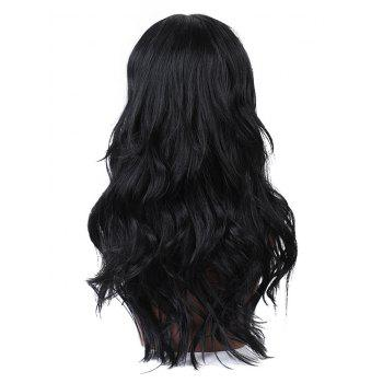 Long Middle Part Wavy Party Capless Human Hair Wig - BLACK