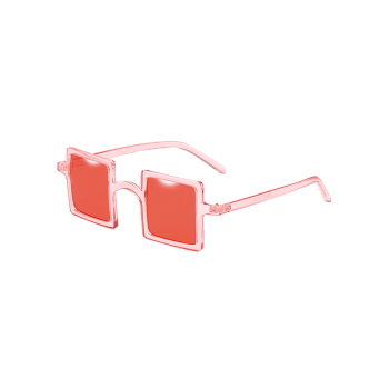 Anti Fatigue Squared Lens Novelty Sunglasses - BEAN RED