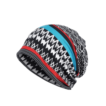 Outdoor Irregular Wave Striped Pattern Baggy Beanie - BLACK