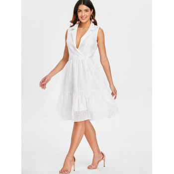 Low Cut Fit and Flare Dress - WHITE L