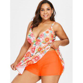 Empire Waist Plus Size Printed Tankini - ORANGE L