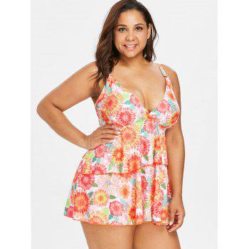 Empire Waist Plus Size Printed Tankini - ORANGE 1X
