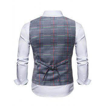 Plaid Printing False Two Pieces Vest - BLUE GRAY L