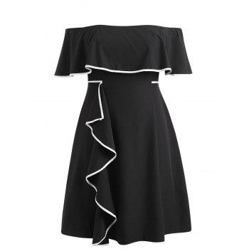 Plus Size Flounce Insert Knee Length Dress - BLACK 4X