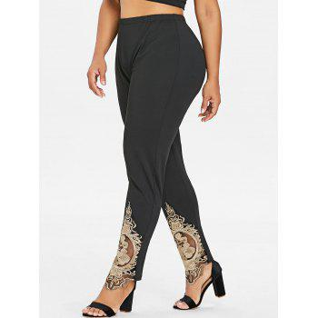 Plus Size Embroidered High Waisted Leggings - BLACK 2X