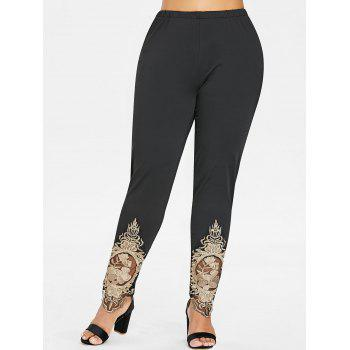 Plus Size Embroidered High Waisted Leggings - BLACK 4X