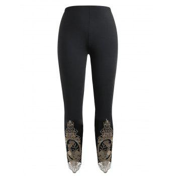 Plus Size Embroidered High Waisted Leggings - BLACK 5X