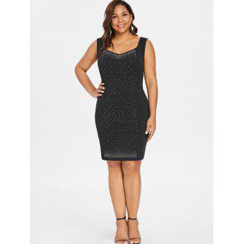Plus Size Rhinestone Decorated Sleeveless Dress - BLACK 5X