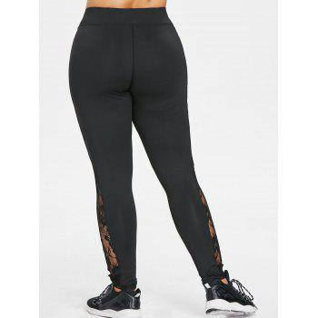 Plus Size Lace Trim High Waisted Gym Leggings - BLACK 1X
