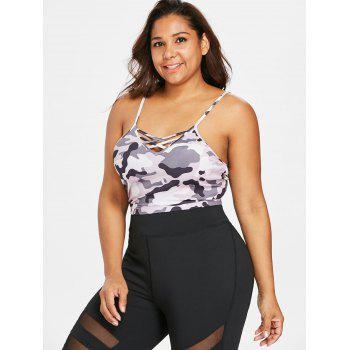 Plus Size Criss Cross Camouflage Sports Bra - SNOW CAMOUFLAGE L