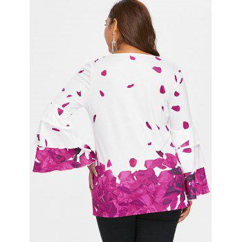 Plus Size Petal Print Bell Sleeve Blouse - DARK CARNATION PINK 1X