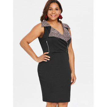 Plus Size Zippers Notched Collar Tight Dress - BLACK 3X