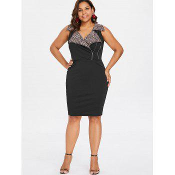 Plus Size Zippers Notched Collar Tight Dress - BLACK 4X