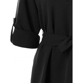 Belted Casual Dress - BLACK XL