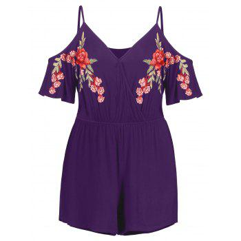 Plus Size Embroidery Cold Shoulder Romper - PURPLE IRIS L