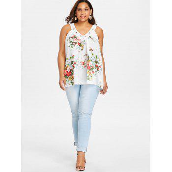 V Neck Plus Size Floral Print Tank Top - MILK WHITE 1X