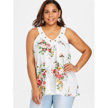 V Neck Plus Size Floral Print Tank Top - MILK WHITE 4X