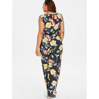 Plus Size Print Pockets Palazzo Jumpsuit - BLACK 3X