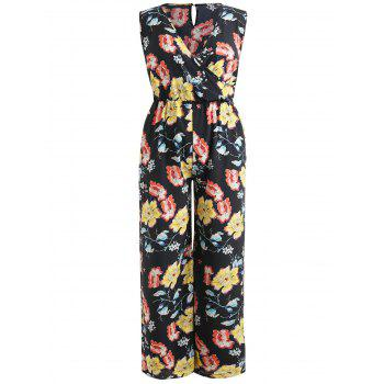 Plus Size Print Pockets Palazzo Jumpsuit - BLACK 2X