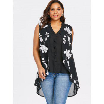 Plus Size Dip Hem Sleeveless Blouse - BLACK 2X