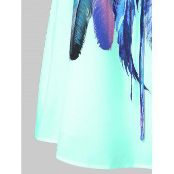 Feathers Printed Double Straps Dress - LIGHT CYAN M