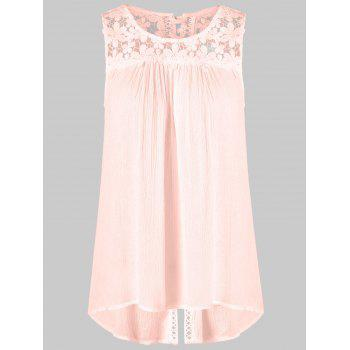 Floral Lace Panel Tank Top - PINK 2XL