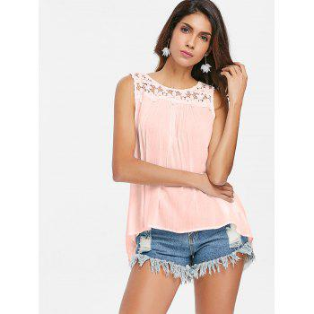Floral Lace Panel Tank Top - PINK XL