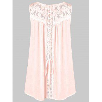 Floral Lace Panel Tank Top - PINK M