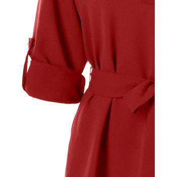 Belted Casual Dress - RED 2XL