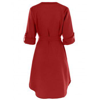 Belted Casual Dress - RED XL