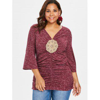 Plus Size Bell Sleeve Embellished T-shirt - RED 1X