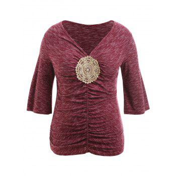 Plus Size Bell Sleeve Embellished T-shirt - RED 3X