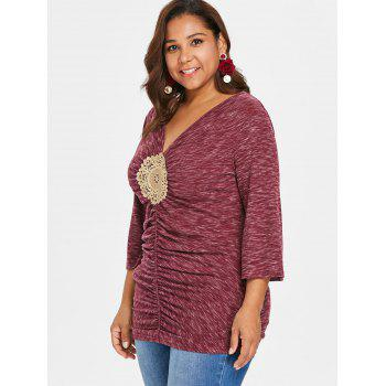 Plus Size Bell Sleeve Embellished T-shirt - RED 5X
