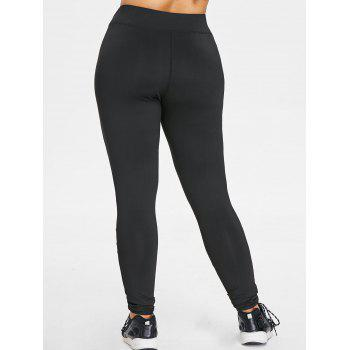 Plus Size Mesh Trim Sports Leggings - BLACK L